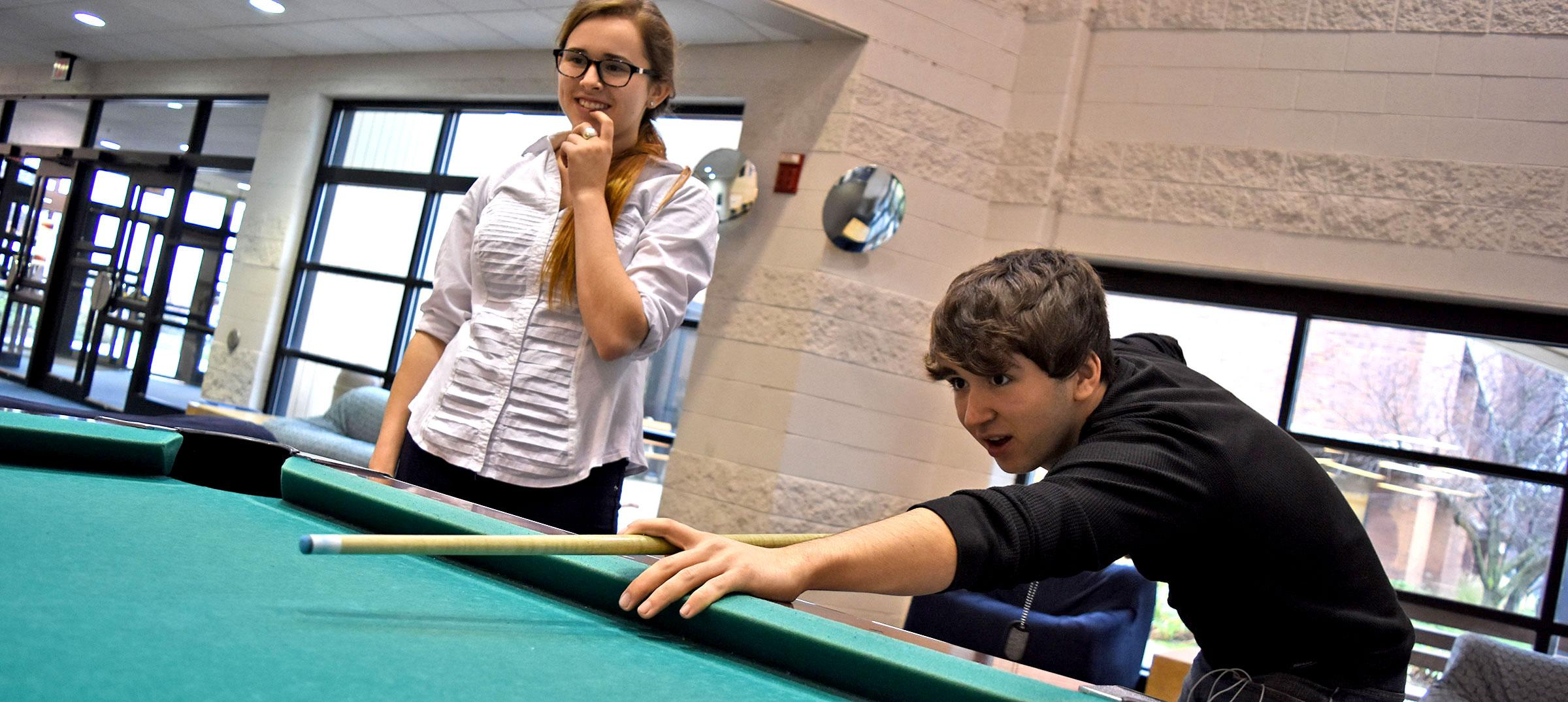 Students playing pool in the SAC